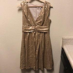 Eva Mendes gold-sequined Cocktail Dress